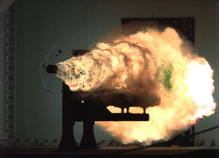 Photograph taken from a high-speed video camera during a record-setting firing of an electromagnetic railgun (EMRG) at Naval Surface Warfare Center, Dahlgren, Va., on January 31, 2008, firing a 3.2 kg projectile at 10.64MJ (megajoules) with a muzzle velocity of 2520 meters per second.