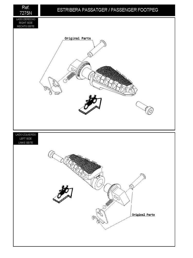 Mocowanie sportowych podnóżków PUIG do Suzuki DL 1000 V
