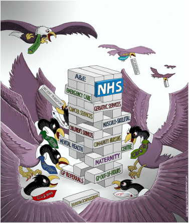 Image result for draconian cartoon NHS