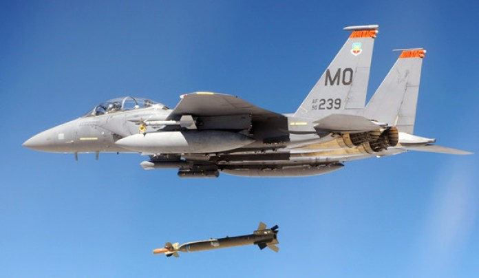 GBU-28 dropped from an U.S. Air Force F-15E. The Strike Eagle and B-2A are the only two aircraft in U.S. Air Force inventory capable of carrying this heavy weapon. Photo: USAF