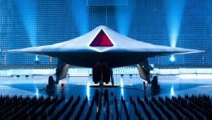 BAE System/MOD Taranis seen for the first time on the official rollout ceremony. Photo: UK MOD