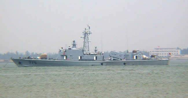 The Chinese People's Liberation Army Navy (PLAN) is operating several Houjian Class fast missile boats.
