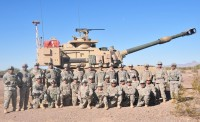 A group photo of the tM-109A6 PIM testers - Soldiers of the 4th Battalion, 27th Field Artillery Regiment, 2nd Brigade Combat Team, 1st Armored Division. The soldiers of 4-27 FA conducted the systems Limited user Test (LUT) while at  at Yuma Proving Ground, Ariz.