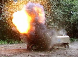 MV4 flail robot demonstrates the destruction of UXO