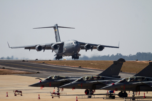 The U.S. Air Force  C-17 Globemaster landing at Aero India 2013. Credit: Angad Singh