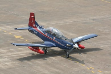 One of the two Pilatus PC-7 MkII that arrived in India last week.