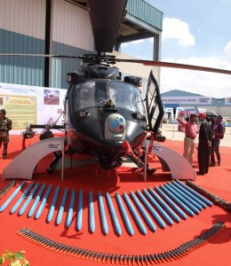 The ALH Mk.IV IWA 'Rudra' shown with its weapon complement at Aero-India 2013