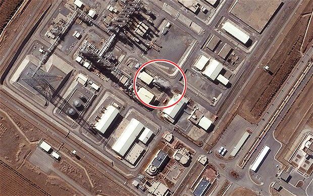 Water vapour, circled, is seen being emitted from forced air coolers at the Arak heavy water production plant earlier this month, showing that the facility is operational Photo: DigitalGlobe Inc/McKenzie Intelligence Ltd