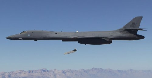 B-1B Lancer drops a JASSM-ER cruise missile on a test flight. USAF Photo