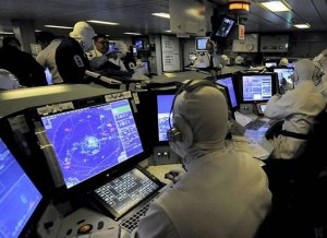 Command and control center of HMS Diamond. Photo: MOD, Crown Copyright