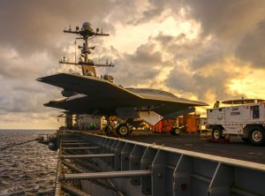 In December 2012 Northrop Grumman and the U.S. Navy conducted deck handling trials of the X-47B Unmanned Combat Air System aboard the USS Harry S. Truman (CVN-75). Trials were designed to demonstrate the aircraft's ability to integrate smoothly with carrier operations. Photo: Northrop Grumman