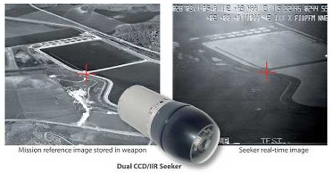 This scene matching example shows the correlation between the target pointed by the reference image (left) and the target picked by the weapon's computer during a flight test. Photo: RAFAEL