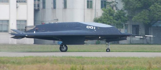 """China's Lijian """"Sharp Sword"""" unmanned combat aerial vehicle taxiing."""