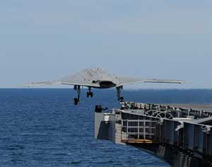 The X-47 UCAS-D currently undergoing carrier suitability flight tests is the only fixed-wing drone designed to operate from aircraft carriers. Following these tests it will also be fitted with aerial refueling capability, preparing for air refuelling evaluations in 2014.