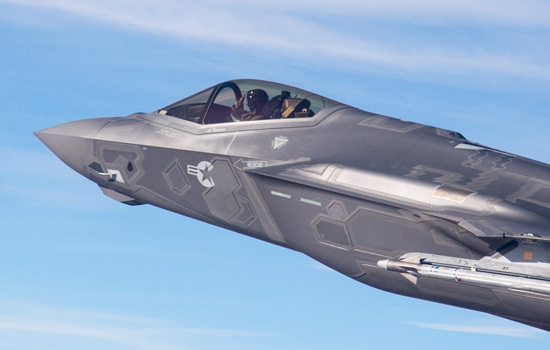 F-35A flying with an AIM-9X Super Sidewinder Air/Air missile carried on the outer pylon. Typically the F-35 will carry four AIM-120D missiles in the weapon's bay, on stealth missions. Photo: Lockheed Martin