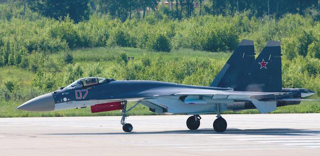 Su-35 on the runway at