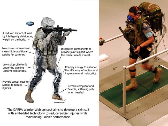 DARPA's Warrior Web exoskeleton concept vision. The soldier on the right takes part in an Army test carrying 61 pounds of weight, to evaluate Warrior Web technologies.