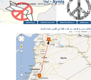 Amyta.com provides early warning Syrian citizens of potential SCUD attacks. Harnessing crowdsourcing of spotters reporting on missile launches, the system calculates trajectory and time of arrival to provide subscribers in the targeted cities an early warning about imminent missile attacks.