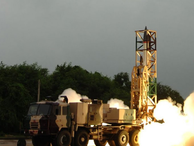 Prahar will be deployed on an 8x8 all-terrain transporter-erector-launcher vehicle carrying six missiles in sealled canisters, ready for launch. Photo: DRDO