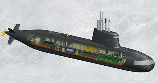 The S-1000 design maintains all weapon systems at the front and clears the hull for customizing the sub for the customer's requirements. Illustration: Fincantieri.