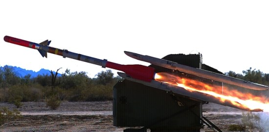 Raytheon's AI3 interceptor consists of a modified AIM-9 Sidewinder airframe, fitted with an RF seeker, datalink and proximity fuse. The AI3 Battle Element also includes an Avenger weapon station carrying four missile launchers and Ku-Band Radar System. (Photo: Raytheon.