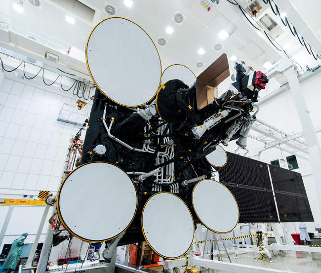The upper antennae and solar panels of Amos 4 undergoing testing at IAI's integration center in Israel. Photo: IAI