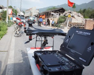 During emergency missions conducted in Sichuan, China in April EWATT also deployed miniature wquad-copters for surveying.