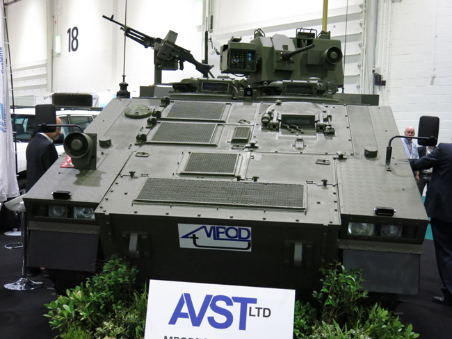 AVST debuts the Multi-role POD (tracked) (mPODt) at DSEI 2013, utilizing a CVR(T) chassis upgraded and modified to carry the mPOD mission module. This module can be a C4ISR, troop carrier, weaponized POD (carrying remotely controlled or manned turret) etc.