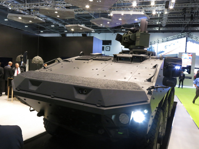 A front view of the Patria Wheeled Vehicle Concept