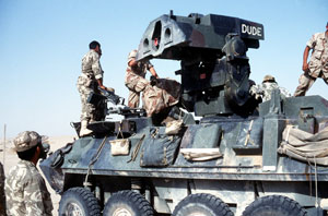 The Marine Corps LAV-AT seen here with the 2nd Marine Division during Desert Storm in 1991 remains the only platform in US inventory to use the obsolete M901 Emerson turret. This turret and M224 TOW system are now replaced to standardize with the M4 SABER system used by the US Army.