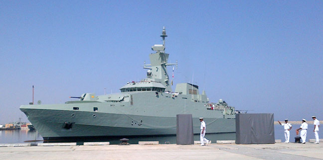 The new Omani corvette Al Shamikh arrives at Royal Navy of Oman (RNO) Said bin Sultan Naval Base.