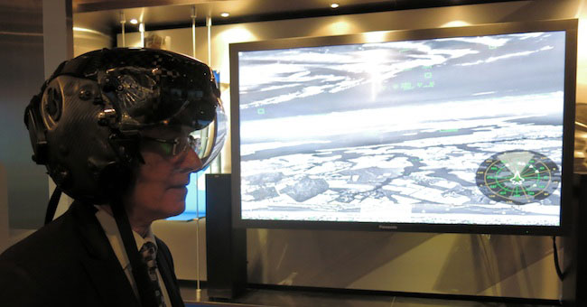 The F-35 Gen 2 helmet display provides the main flight display for the pilot. Defense-Update had an opportunity to try the helmet during a recent visit to Lockheed Martin. The system's ability to 'see through' the airplane over 360 degrees is depicted on the screen.