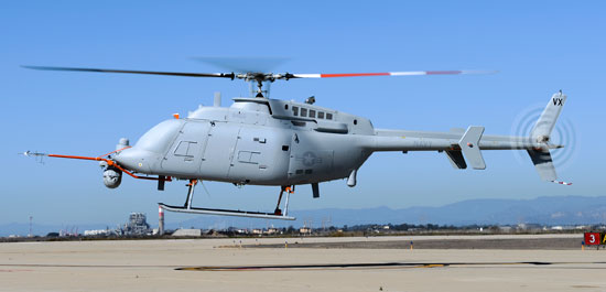 An MQ-8C Fire Scout unmanned aerial vehicle takes off from Naval Base Ventura County at Point Mugu, October 31, 2014.  Initial operating capability for the MQ-8C is planned for 2016, with the potential for an early deployment in 2014. Photo: Northrop Grumman