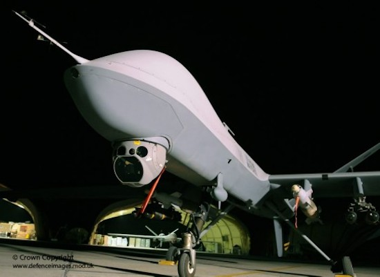 Enhanced sensor package will now be able to support  geotargeting in real-time for the MQ-9 Reaper, enhancing the drone's ability to operate GPS-guided weapons. Photo: MOD