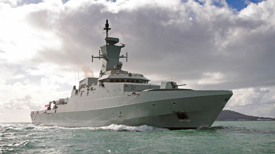 Royal Navy of Oman (RNO) new Kareef Class corvette Al Shamikh seen during its sea trials on the summer of 2013. Photo: BAE Systems