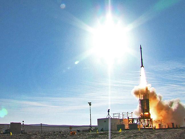David's Sling System Stunner Missile during a intercept test at the Israeli Negev desert. Photo: U.S. MDA