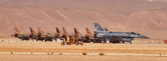 Polish and Israeli F-16s lined up at the southern IAF base Ovda for a training exercise in 2012. The Polish fighter jets are expected to be back at this year's inaugural 'Blue Flag' event taking place at Ovda later this month. Photo: xairforces.net