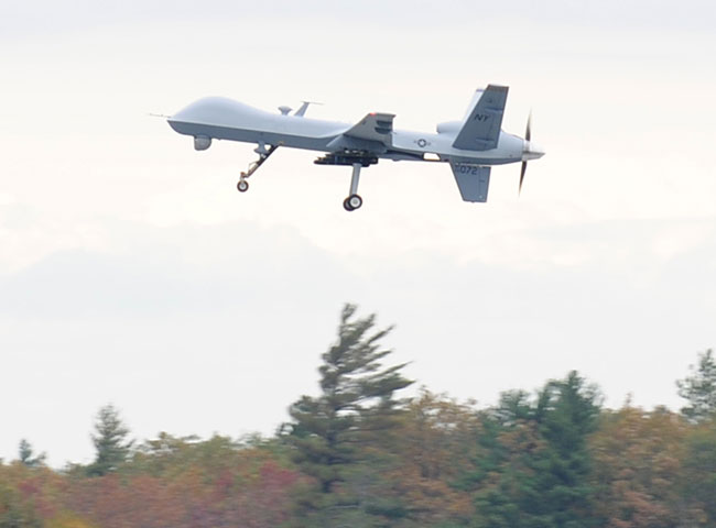 An MQ-9 Reaper armed with Hellfire missiles coming to land at the Syracus airfield in up state New York. Photo: ANG