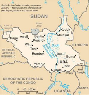 South Sudan map (CIA maps)