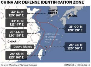 The boundaries of the new air defense identification declared by China November 23, 2013.