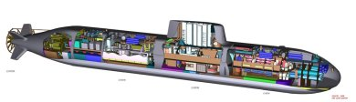 A cutaway showing the internal architecture of the Type 216 submarine. Drawing: HDW