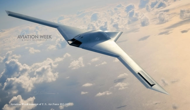 A concept view of the Northrop Grumman RQ-180 stealth drone. Neither the Air Force nor Northrop Grumman would speak about the classified airplane. Photo: Aviation Week & Space Technology