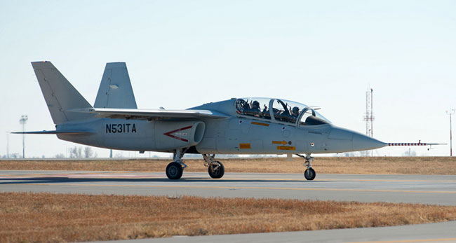 The Scorpion seen on one of its recent taxi tests December 10, 2013 at Wichita, Kansas. Photo: Textron Airland.