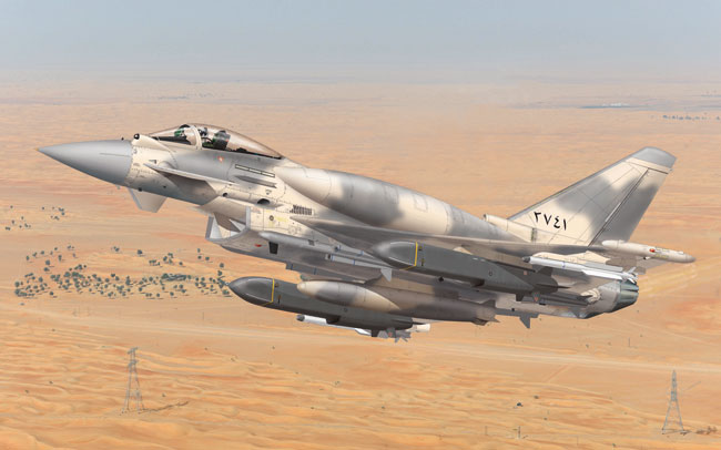 A heavily modified and enhanced Typhoon (PE2) such as this variant, offered to the UAE, carries conformal fuel tanks, Storm Shadow cruise missiles and Meteor BVR-AAM. A similar variant has also been proposed to Indian Navy and to South Korea.