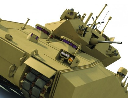 The Ground Combat Vehicle variant developed by BAE Systems would have used a new hybrid-electric propulsion system that would rely on a diesel engine running a generator and electrical drive motors to power the vehicle and feed its many electronic systems. Photo: BAE Systems