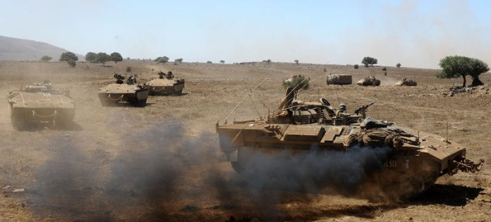 A column of Namer Infantry Combat Vehicles (ICV) of the Golani 13th infantry battalion seen on an exercise in the Golan Height, 2012. The brigade is expected to receive the full complement of ICVs, but  the current budget is not expected to support equipping about two brigades with the new ICV. Photo: IDF Spokesman, by Staff Sgt. (res.) Abir Sultan