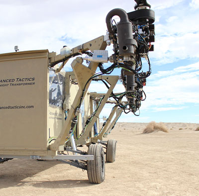 Each of the propulsion units comprises a gas-powered internal combustion engine, two-blade rotor, and mounting rigs  carrying the gas feed and engine controls. For the operational concept design, the arms are extended with actuators. The actuators would allow the vehicle to be reconfigured in less than one minute. Photo: Advanced Tactics