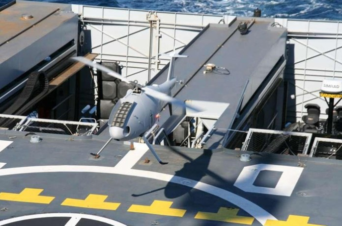 S100 landing on the flight deck of the French OPV L'Adroite. The small unmanned rotorcraft performed over 200 landings on the vessel during the first sea trials phase conducted in the summer of 2013. Photo: French Navy.