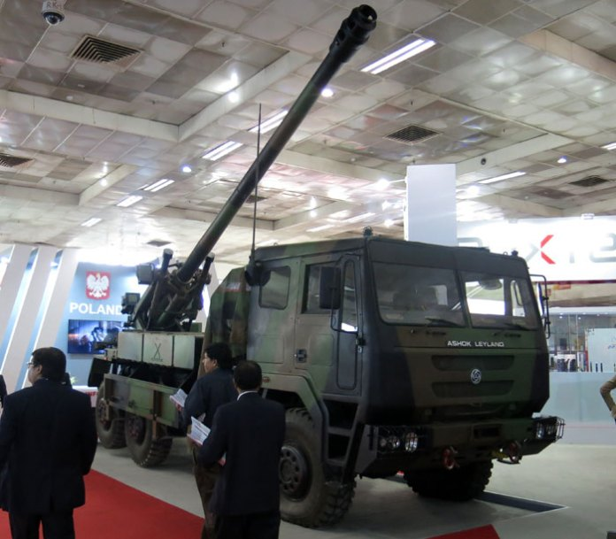 Developed under joint program between Nexter, Larsen & Turbo and Ashok Leyland, this variant of CAESAR mounts 155mm/52Cal cannon on a 6x6 Super Stalion truck  chassis. Photo: Tamir Eshel, Defense-Update