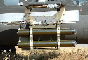 The LAHAT quad launcher mounted on the Mi-17. Photo: IAI